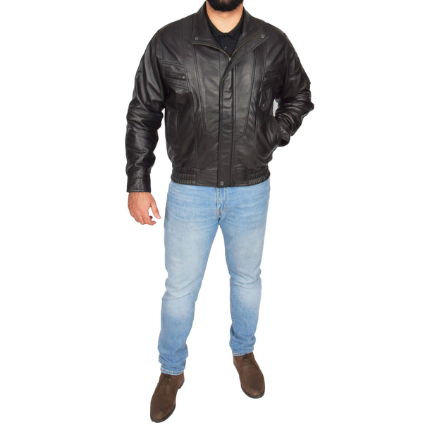 Mens Classic Bomber Soft Leather Jacket Alan Black full view
