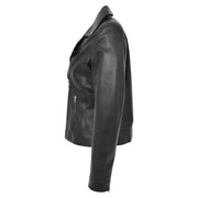 Womens Genuine Leather Biker Jacket Designer Fitted Coat Myla Black Side