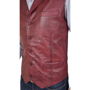 Mens Genuine Soft Leather Waistcoat Western Vest Yelek Rhys Burgundy Feature