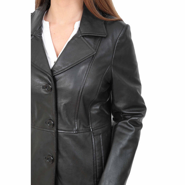 Ladies Leather Blazer Coat Fitted Classic Hip Length Jacket Judy Black Feature