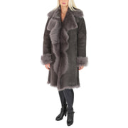 Womens Luxurious Toscana Long Coat Real Sheepskin Pamela Grey full