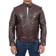 Mens Cafe Racer Biker Leather Slim Fit Jacket Teddy Brown