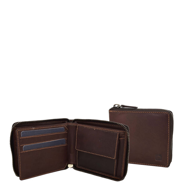 Mens RFID Zip Around Real Leather Wallet Cards Coins ID Notes Case AL04 Brown