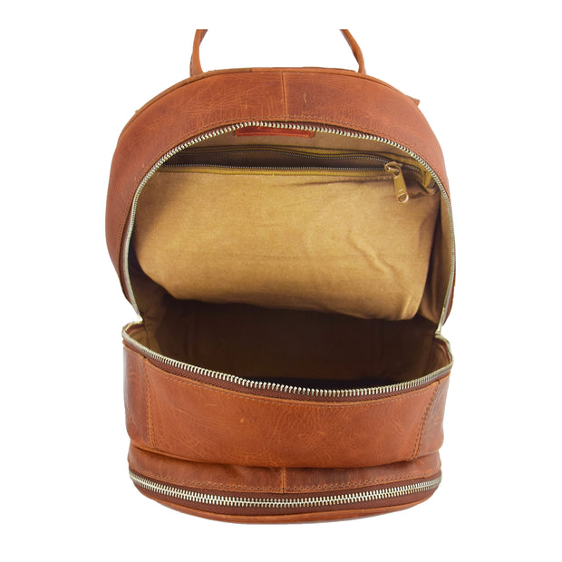 High Quality Genuine Tan Leather Backpack Large Size Work Casual Travel Bag Trek Open