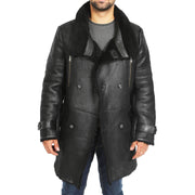Mens Genuine Sheepskin 3/4 Long Reefer Trench Coat Bruno Black Open
