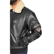 Mens Pilot Bomber Leather Jacket Spitfire Black feature view