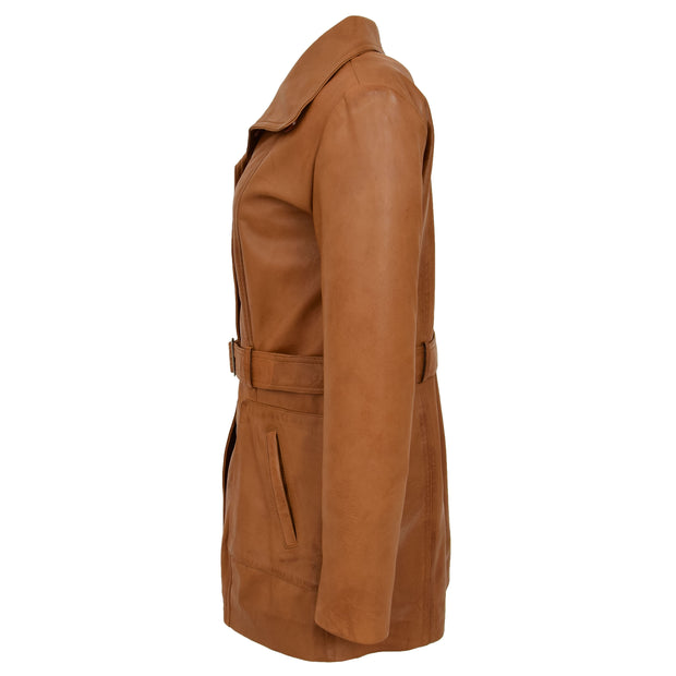 Womens Real Leather Mid Length Trench Parka Coat Alba Tan Side