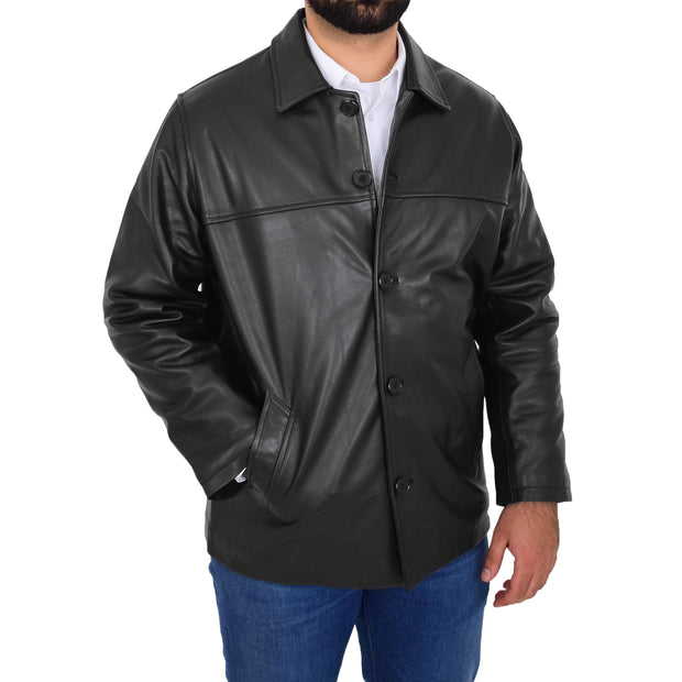 Gents Real Leather Button Box Jacket Classic Regular Fit Coat Luis Black