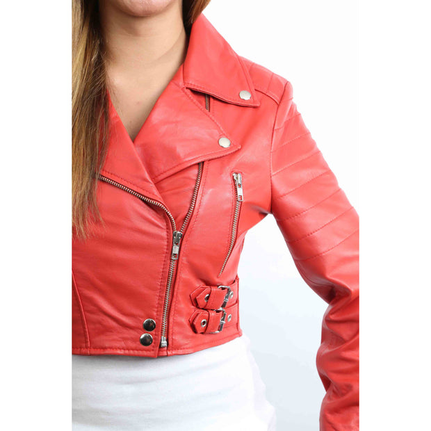 Womens Fitted Cropped Bustier Style Leather Jacket Amanda Red Feature 2