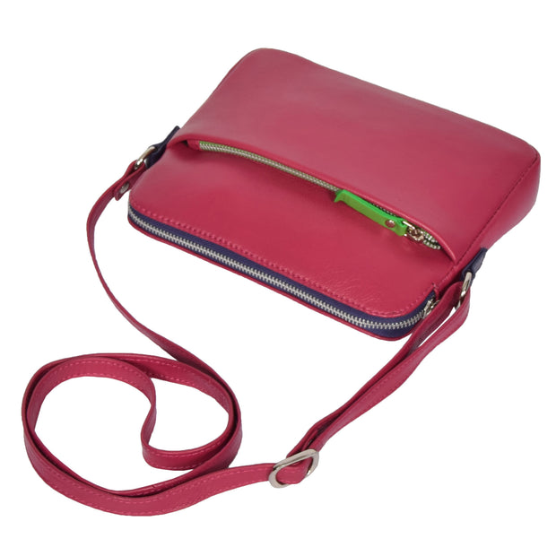 Womens Soft Leather Cross Body BERRY Sling Shoulder Bag Polly Letdown