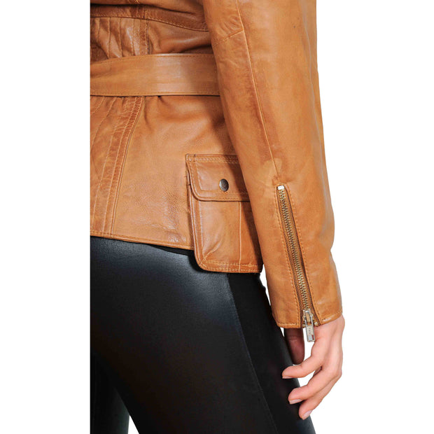Womens Fitted Mid Length Biker Leather Jacket Hannah Tan Feature 2