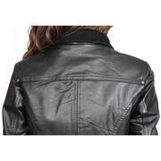 Womens Slim Fit Bomber Leather Jacket Cameron Black feature 2