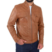 Mens Biker Leather Jacket Cognac Soft Nappa Fitted Standing Collar Tats Front 1