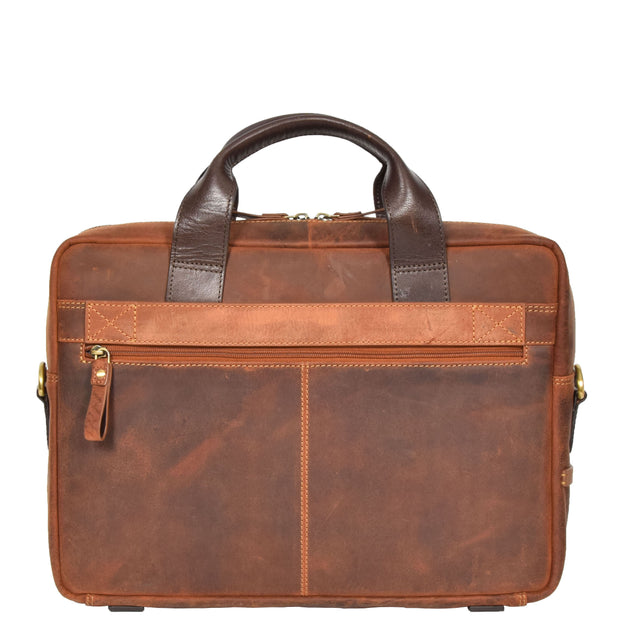 Leather Briefcase Vintage TAN Messenger Shoulder Bag Hanoi Back