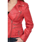 Womens Trendy Biker Leather Jacket Beyonce Red Feature