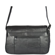 Womens Black Soft Leather Shoulder Cross Body Bag Agnes Back