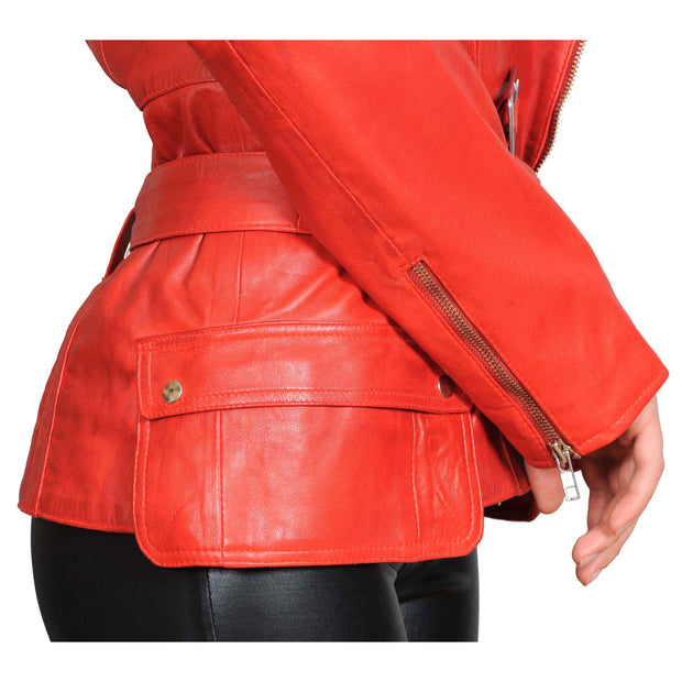 Womens Fitted Mid Length Biker Leather Jacket Hannah Red Feature 2