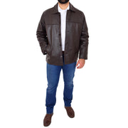 Gents Real Leather Button Box Jacket Classic Regular Fit Coat Luis Brown Full