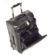Real Leather Suitcase Cabin Trolley Hand Luggage A0518 Black Front Open