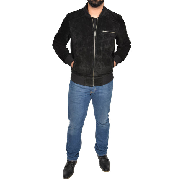 Mens Genuine Suede Bomber Jacket Roco Black full view