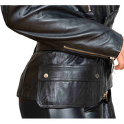 Womens Fitted Mid Length Biker Leather Jacket Hannah Black Feature 2