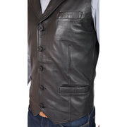 Mens Genuine Soft Leather Waistcoat Western Vest Yelek Rhys Black Feature