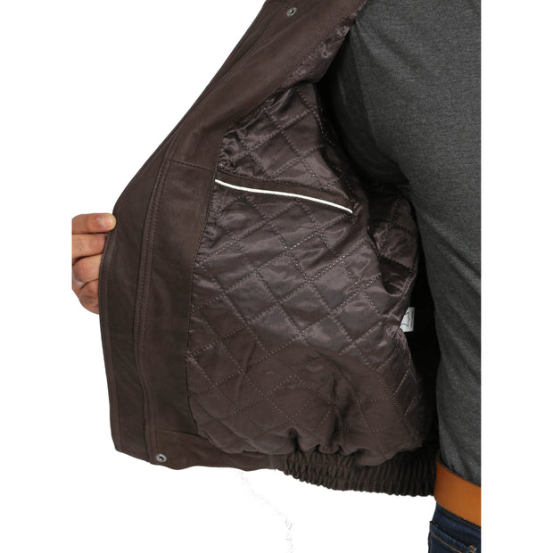 Gents Blouson Brown Leather Jacket Keith Nubuck lining view