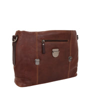 Mens Real Brown Cowhide Leather Briefcase Vintage Satchel Buck Front Open