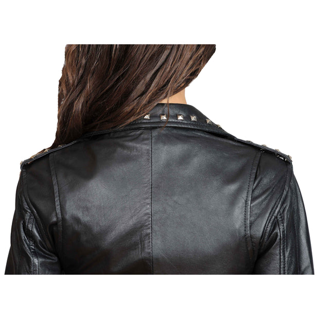 Ladies Studded Cropped Fitted Biker Leather Jacket Diane Black Back Feature