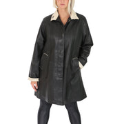 Ladies Parka Leather Coat Black Beige Trim Hooded with Scarf Dress Jacket Pat Without Scarf