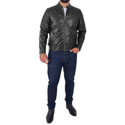Mens Soft Leather Biker Jacket High Quality Quilted Design Tucker Black Full