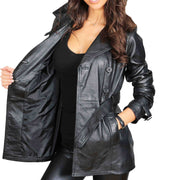 Womens Soft Leather Trench Coat Olivia Black lining