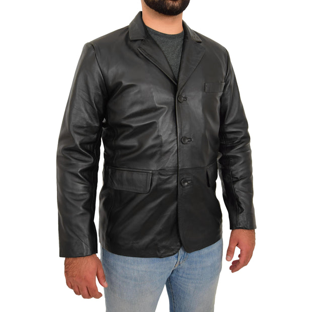 Real Leather Classic Blazer For Mens Smart Casual Black Jacket Kevin Front 2