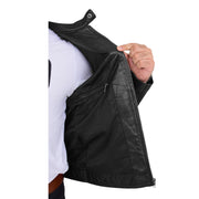 Mens Black Leather Biker Casual Contrasting Stripes Jacket Butch Lining