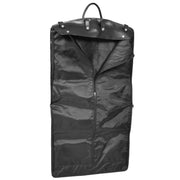 Exclusive Leather Slimline Travel Garment Bag Suit Carrier Dress Cover Remy Black Open