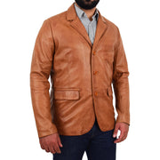 Mens Leather Blazer Real Lambskin Jacket Dinner Suit Style Coat Dean Cognac Front 3