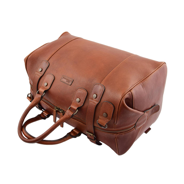 Genuine Vintage Chestnut Leather Holdall Travel Duffle Weekend Bag Rove Letdown