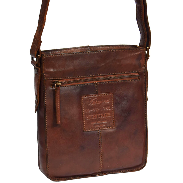 Real Leather Unisex Shoulder Flight Bag Trump Rust Back