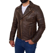 Mens Real Leather Biker Jacket Vintage Copper Rust Rub Off Slim Fit Style Max Front 1