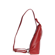 Womens Luxury Leather Backpack Sports Hiking Organiser Rucksack A59 Red Side