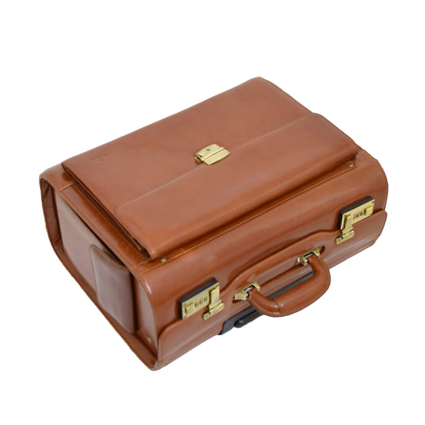 Exclusive Real Cognac Leather Pilot Case Wheeled Cabin Bag Briefcase London Top Letdown