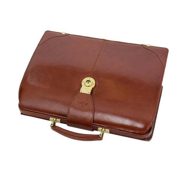 Exclusive Doctors Leather Bag Cognac Italian Briefcase Gladstone Bag Doc Front Letdown