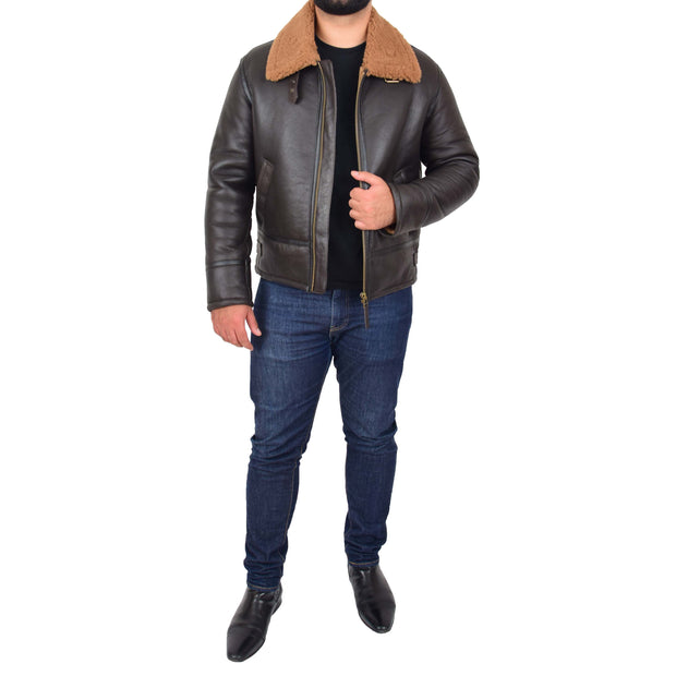 Mens Original Sheepskin Flying Jacket B3 Bomber Aviator Pilots Shearling Coat Raptor Brown/Ginger 3