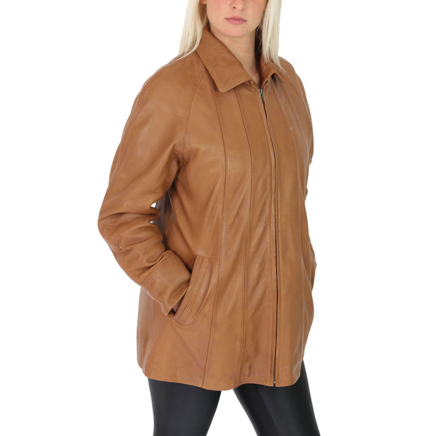 Womens Zip up Detachable Hood Parka Duffle Leather Coat Isabella Tan Without Hood