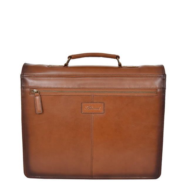 Mens Briefcase Italian Leather Soft Slim Satchel Business Bag Boris Tan back