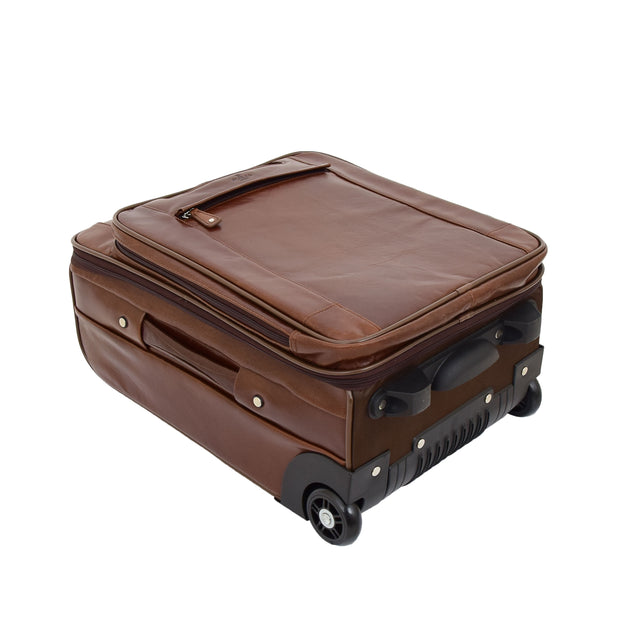 Luxurious Brown Leather Cabin Size Suitcase Hand Luggage Beverley Hills Letdown
