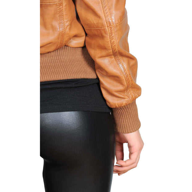 Womens Slim Fit Bomber Leather Jacket Cameron Tan Feature 2