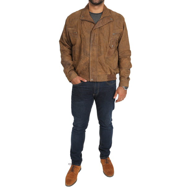 Mens Classic Bomber Nubuck Leather Jacket Alan Brown full view