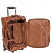 Real Leather Suitcase Cabin Trolley Hand Luggage A0518 Chestnut Open