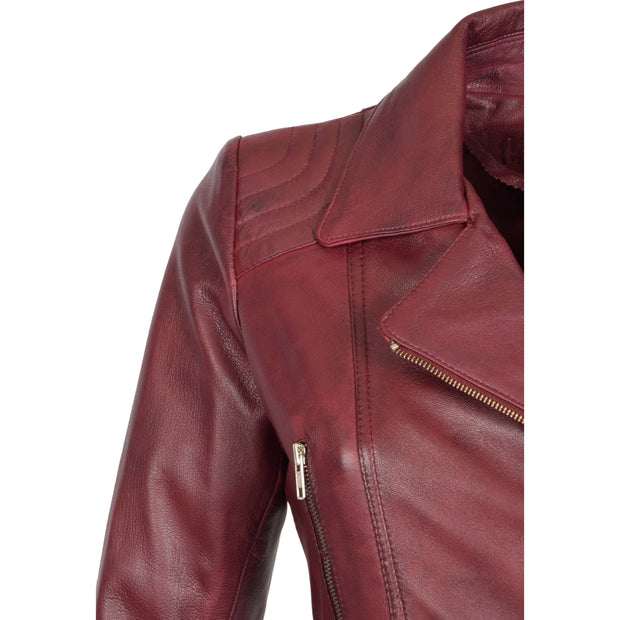 Womens Biker Leather Jacket Slim Fit Cut Hip Length Coat Coco Burgundy Feature 2